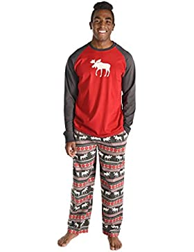 Lazy One TS269/PP269 Men's Moose Fair Isle Red Multicolour Pajama Pyjama Set