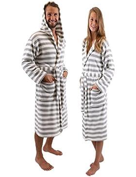 Betz Bademantel Saunamantel Morgenmantel mit Kapuze Damen Herren ROM grau-weiß