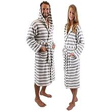 BETZ Albornoz Bata de baño sauna con capucha para mujeres y hombres ROM de color gris-blanco size S/M