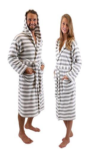 Betz Peignoir d'intérieur/ Peignoir de bain à capuche pour femme et homme ROM gris / blanc et marron / blanc size L/XL