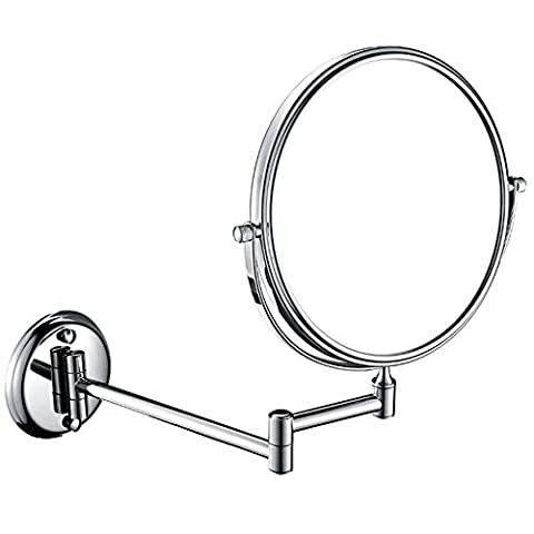 EgoEra® 3x Magnification Mirrors 8 inch Double Side, 360 Degree Swivel, Wall Mounted Round Extending Folding Shaving Makeup Cosmetic Magnifying Mirror for Bathroom Bedrooms