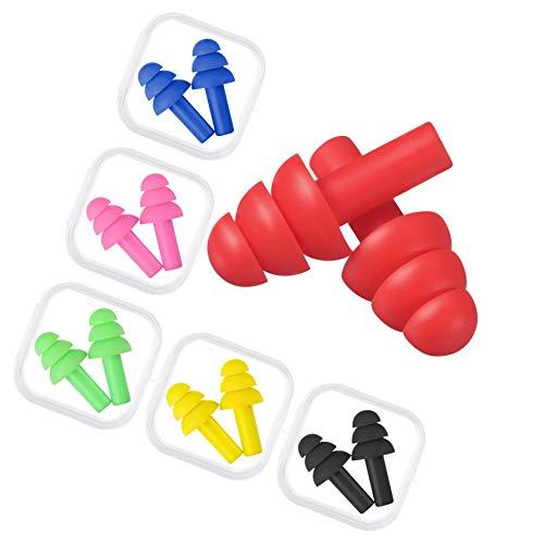 Xhuan 6 Paar Ohrstöpsel mit Geräuschunterdrückung, wiederverwendbar, zum Schlafen und Schwimmen, 6 (Mehrfarbig B)