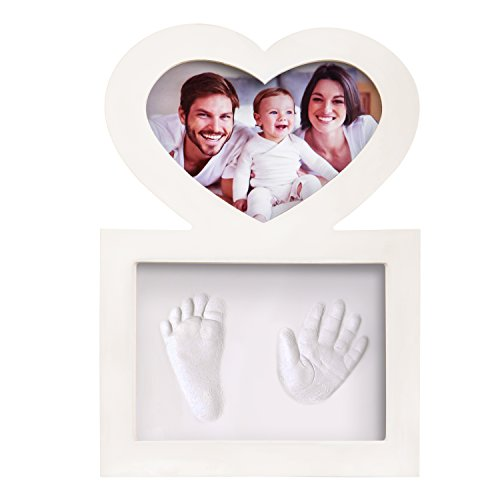 CLICK & CLAY KIT DE HUELLAS DE MANO Y PIE PARA BEBÉS CON MARCO EN FORMA DE CORAZÓN para niños y niñas - Regalo Único para Recién Nacidos y para Bautizos - Recuerdo para los Papás y las Mamás