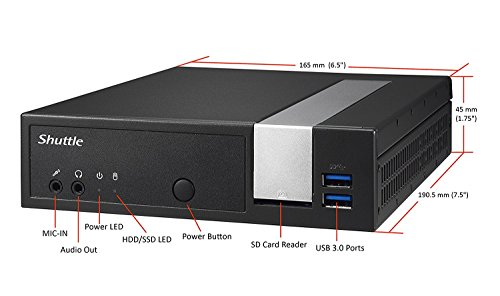Shuttle Barebone XPC Slim Dx30 Celeron J3355 2 X DDR3L 1XSATA/SSD HD GPU Cardreader HDMI DP USB2/3 1xRJ45 2X RS232 schwarz (Shuttle Card Reader)