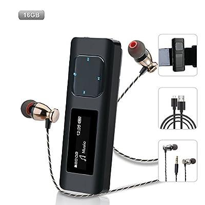 Mini Lecteur MP3 Sport, Design Anti-chocs Baladeur MP3 Avec Boîtier en Métal, 16GB Clip MP3 Player Radio FM, Enregistreur Vocal, pour la Randonnée et le Camping par MusicFun