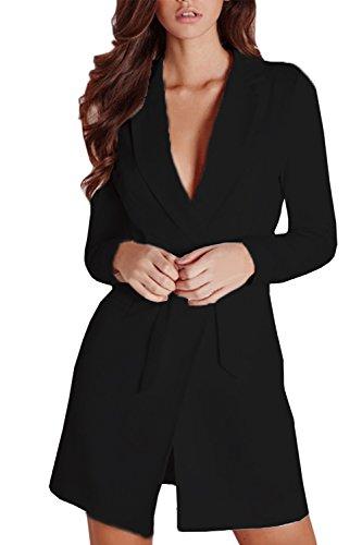Le Donne Eleganti Risvolto Affari Giacca Cappotto Giacche Con Cintura Black