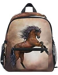 ISAOA Niño 3D caballo marrón niños mochilas Kinder preescolar niño ...