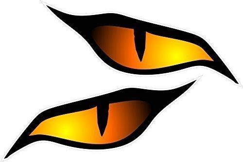 Ein Paar Von Bösartig Augen Auge Aufkleber Orange In Farben Vinyl Auto Motorrad Helm Aufkleber Abziehbild jede 70x30mm