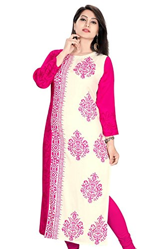 Plus Size Long Pakistani style Pink & White Rayon Kurti  available at amazon for Rs.599