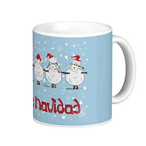 hugginscx Adorable Funny Navidad de Noël en polaire Moutons Tasse à café