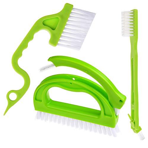 JTENG Fugenbürste für Bad,Küche und Haushalt - 4 in 1 Reinigungsbürste Set Reinigt effektiv Fugenfliesen und entfernt Schimmel oberflächlich (Grün)