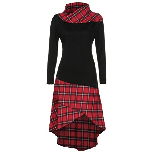TWIFER Damen Frauen High Neck Plaid Muster Patchwork Kleid Langarm Kleid