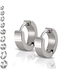 Un par de SoulCats® aros de acero inoxidable plata brillante para las mujeres y los