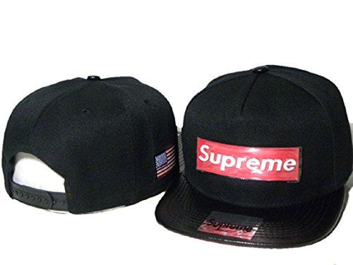 Hot Fashion Unisex Blue Supreme Hat(Black with Red Logo)