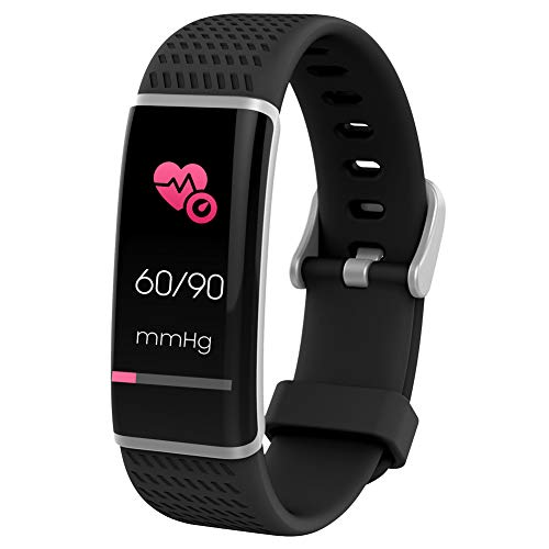 Fitness Trackers Blood Pressure, Activity Tracker Heart Rate Monitor Waterproof GPS Tracker for Shower Swimming, Step Calorie Distance Tracker Call SMS SNS Remind for Men Women Kids Unisex, Black