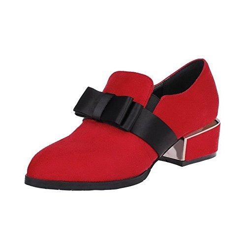 VogueZone009 Femme Couleur Unie Suédé à Talon Bas Pointu Tire Chaussures Légeres Rouge