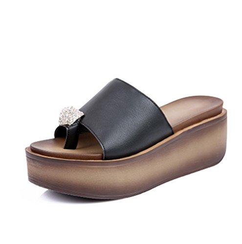 pengweiHausschuhe Damen Sommersandelholze Murmeln dicke Sandalen Schuhe 2