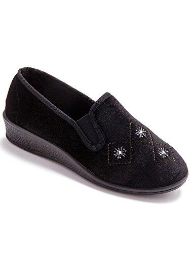 Lingerelle - Pantoufles en velours, lot de 2 paires 1 indigo + 1 noir