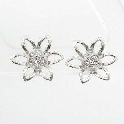 charm-pendants Womens bp62Orecchini a perno italiana, Oro bianco 14K cerchio