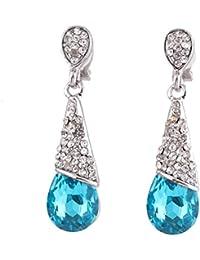 Grace Jun New Style Rhinestone Crystal Long Water Drop Clip On Earrings Non Piercing For Party Wedding Charm Earrings...