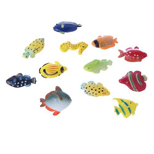 Homyl Mini Realistische Schildkröten/Wildtiere/Meerestiere/Nutztiere/Maus Tiermodell Spielzeugfigur für Kinder pädagogisches Spielzeug (12er-Set) - Mehrfarbig, Fisch