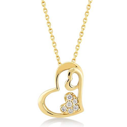 Damen Halskette 14 Karat / 585 Gelbgold mit Anhänger Verschlungene Herzen und Zirkoniasteinen, Kettegröße 45cm Geschenk Idee, Federringverschluss