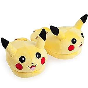 Katara 1707 – Witzige Pokemon Onesize Haus-Schuhe aus Plüsch für Erwachsene in vielen Designs, Pikachu – hinten offen, gelb