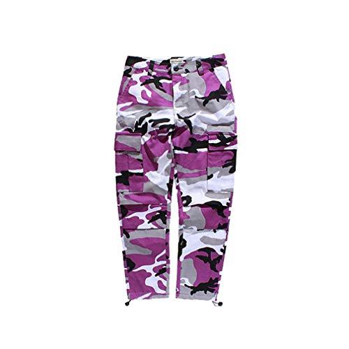 Mxssi Farbe Camo BDU Camouflage Cargo Pants Männer Frauen Casual Streetwear Taschen Jogger Orange Tactical Sweatpants Hip Hop Hosen Lila M (Männer Hose Lila)