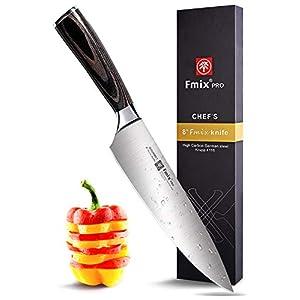 FMIX Küchenmesser Kochmesser Profi Chefmesser Damastmesser, Ultra Scharfe Klinge 20 cm mit Edelholz Griff - Exquisiter Geschenkverpackung(Braun Griff)