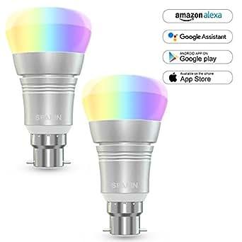 [2 Pezzi] Lampadina Intelligente B22, SPARIN Lampadina Wifi 7W, Lampadina Smart, Funziona con Amazon Alexa, Controllo in Tempo Reale, Programmazione per Automazione Domestica, Festività.