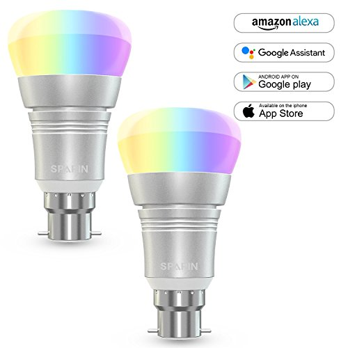 [2 Pack] Smart Bulb B22, SPARIN Color Changing Led Light Bulb [B22 bayonet 7W]Wi-Fi Light Bulb. Valentines Decoration Bulbs that Compatible with Alexa/Google Home [Dimmable] [Remote Control] [No HUB].