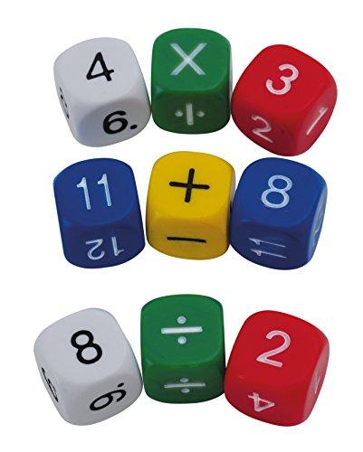 Kunststoff-würfel (TimeTEX Set Mathe-Würfel mit den Zahlen 1-10 und Rechenzeichen - 10 Würfel - aus Kunststoff - 16 mm - 93559)
