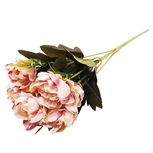TOOGOO 1 Bouquet Europeenne Joli Mariage Mini Pivoine Artificielle Soie Fleur Bouquet Flores Mariee Decoration De La Maison Pas Cher Faux Fleurs Caf