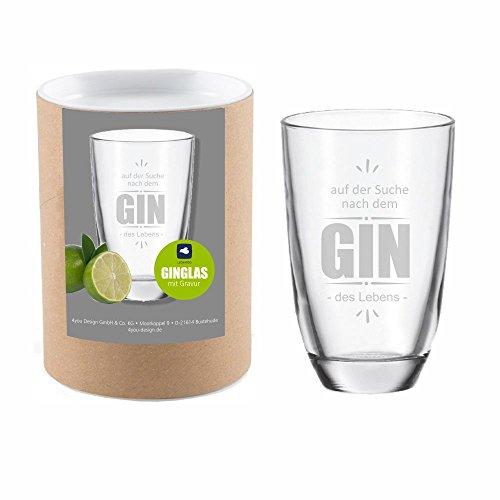 4you Design Leonardo Gin-Glas Auf der Suche nach Dem Gin des Lebens mit Geschenkbox - Gin - Tonic - Longdrink - Leonardo - Glas - mit Gravur - Geschenk - Geschenkidee - für Sie - für Ihn
