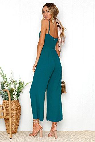 CoCo Fashion Damen Jumpsuit Elegant Hosenanzug Sommer Ärmellos Overall Romper Hosen Lang Blau Blau