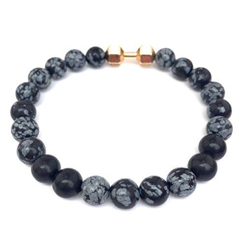 GOOD.designs Fitness Perlen-Armband aus grauen Schneeflocken-Obsidian Natursteinen, Hantel Anhänger in Gold - 2