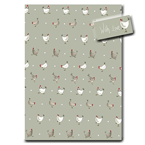 Multi Chicken Sage Green Wrapping Paper