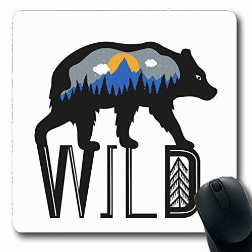 Luancrop Mousepad Oblong Black Alaska Bär Blue Mountains Parks Wald Grizzly Abstract Adventure Authentic Design Schnee Büro Computer Laptop Notebook Mauspad, rutschfestem Gummi -