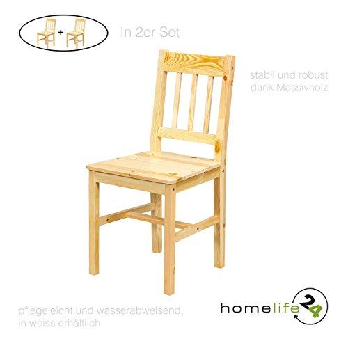 Holz Esszimmer-set (H24living 2er Set Esszimmer-Stuhl im Landhausstil Bauern Stil funktionell und robust aus echt Kiefer natur lackiert)