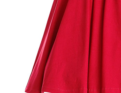 MUXXN Retro robe de cocktail balancee elastique a 3/4 manches New Red