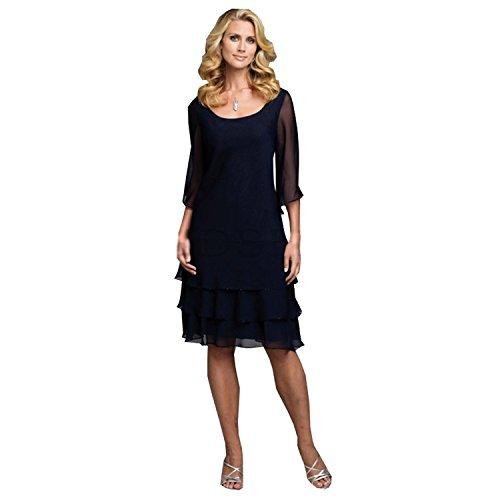 Dressvip Formelle Femme Robe Mère pour Mariage de la Mariée Longueur Genou Bleu Marine en Mousseline Robe de Cérémonie à Volants Bleu Marine