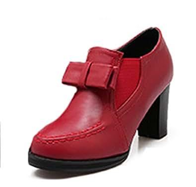 Easemax Damen Schleife Reißverschluss Chunky Chelsea Boots Halbschuhe Rot 46 EU AUkAC0