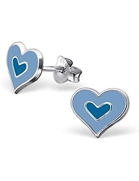 Kinder-Ohrringe aus Sterling-Silber 925/000rhodiniert und Epoxidharz–Herzen–blau