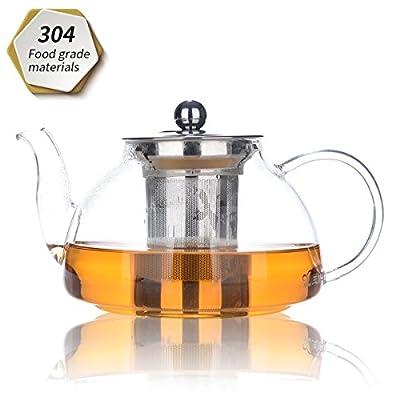 Théière, théière 800 ml / 28 oz, théière en verre avec infuseur amovible, micro-ondes et cuisinière, filtre à thé pour thé à la feuille en vrac et thé à fleurs