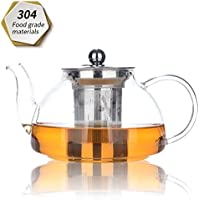 HaoHan Teapot, tea pot 800ml/28oz, Heat Resistant glass Teapot with Removable Infuser, Microwavable and Stovetop Safe.
