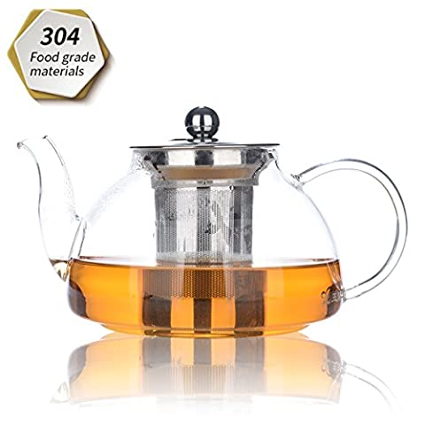 Teapot, tea pot 800ml/28oz, glass Teapot with Removable Infuser, Microwavable and Stovetop Safe, Tea Strainer for Loose Leaf Tea and Blooming