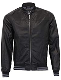 b6e606238299 Threadbare Mens PU PVC Jacket Coat Zip Biker Baseball Style Lined Fashion  Winter