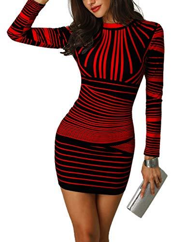 CHICME BEST SHOPPING DEALS Damen Gradient Farben Streifen Bodycon Mini Kleid Rot M