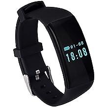 Viwel D21 Fitness Tracker, netronic Fitness Tracker con monitor de frecuencia card¨ªaca contador de reloj de pulsera pod¨®metro actividad de seguimiento Ejercicio paso caminar sue?o inal¨¢mbrico a prueba de sudor Deportes pulsera para Android y iOS