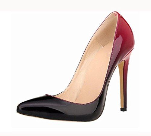 Patent Stiletto Pump (ZCH Frauen High Heels Lackleder Steigung Farbe Party Pumps Stiletto High Heels 42 Großformat , 42)